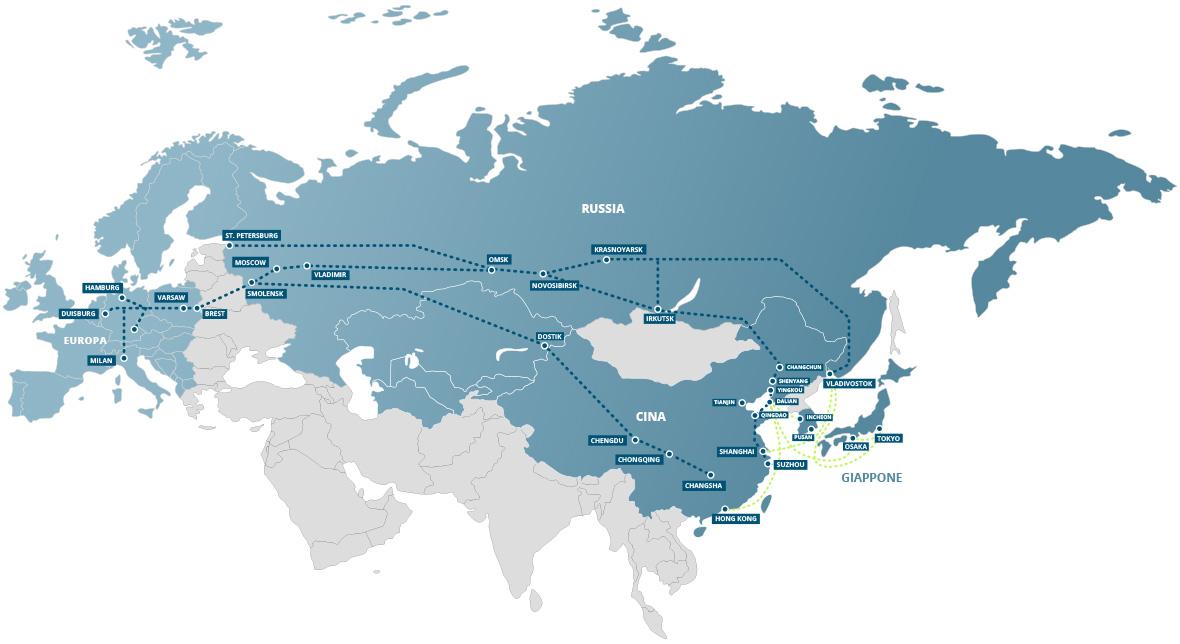 Spedizioni ferroviarie merci import-export Europa, Russia, Cina e Giappone