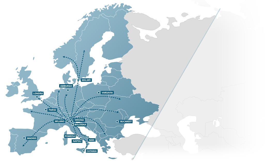 Tratte spedizioni ferroviarie trasporto merci Italia-Europee